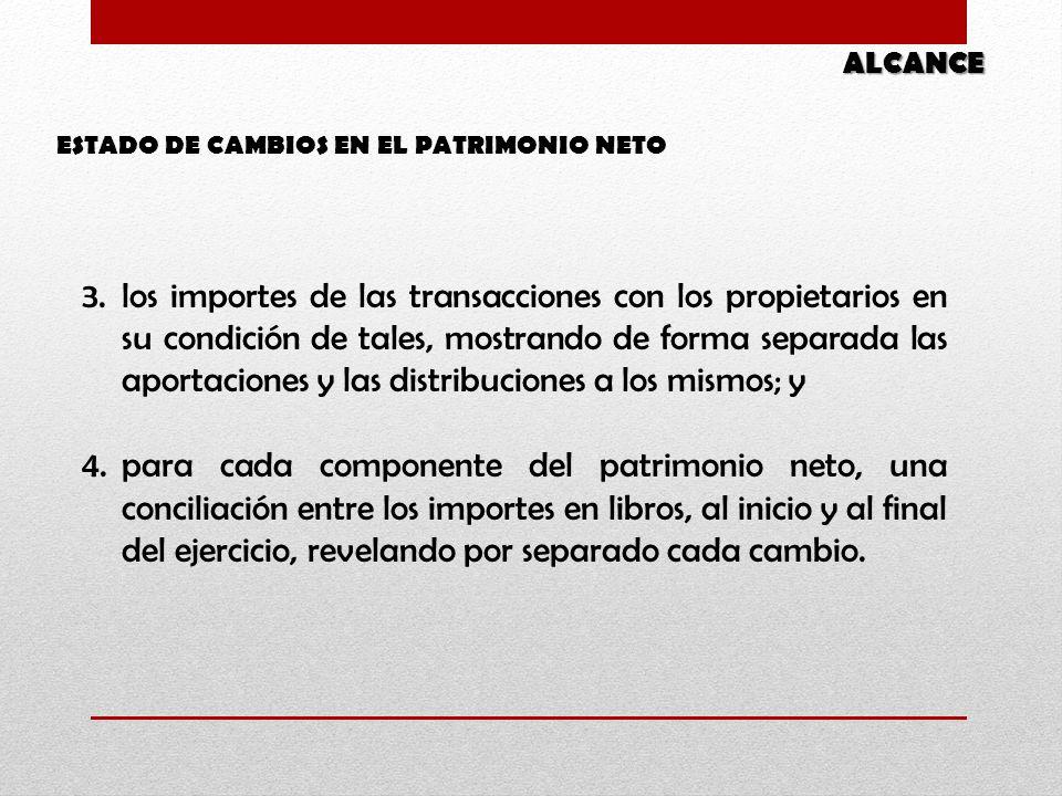 ESTADO DE CAMBIOS EN EL PATRIMONIO NETO ALCANCE 3.los importes de las transacciones con los propietarios en su condición de tales, mostrando de forma