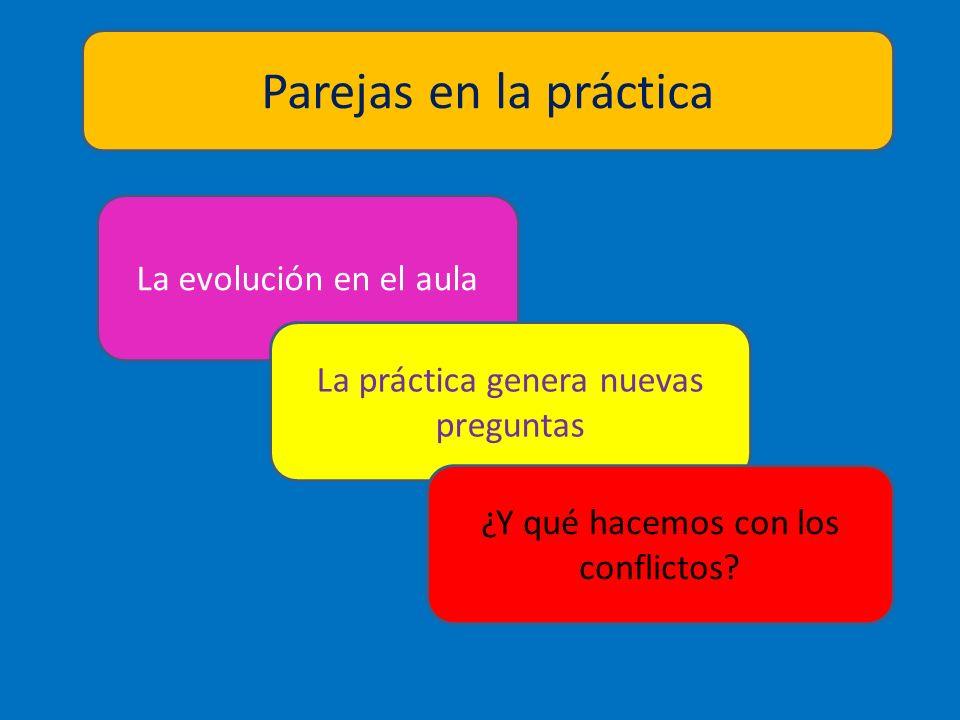 La evolución en el aula La práctica genera nuevas preguntas Parejas en la práctica ¿Y qué hacemos con los conflictos?