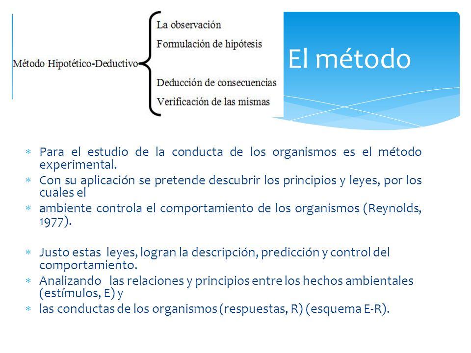 Para el estudio de la conducta de los organismos es el método experimental. Con su aplicación se pretende descubrir los principios y leyes, por los cu