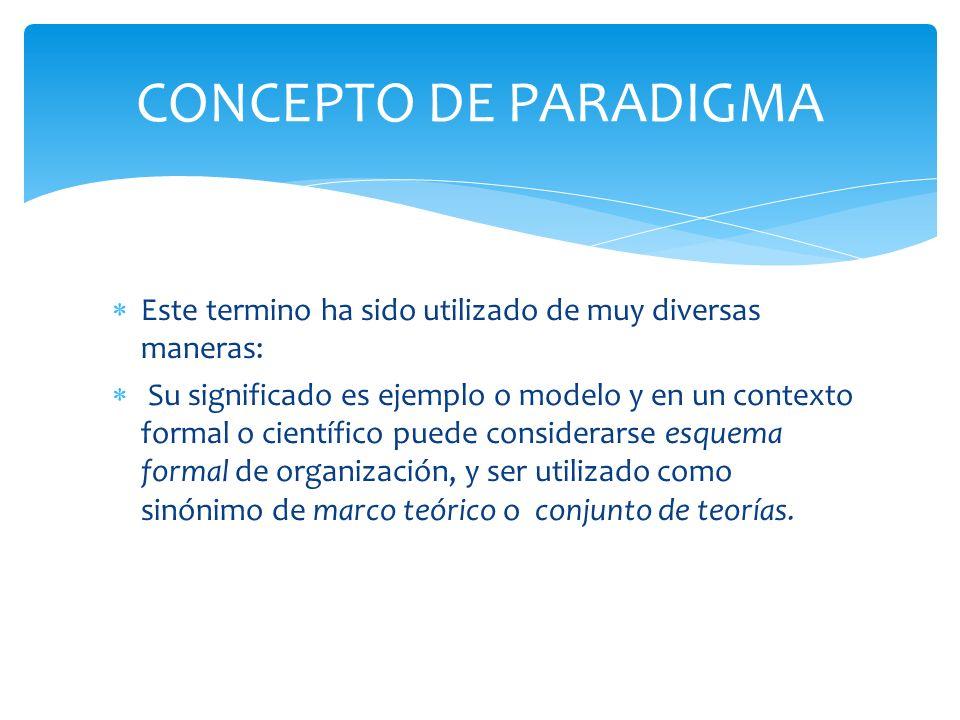 Es un esquema de interpretación básico, que comprende supuestos teóricos generales, leyes y técnicas que adopta una comunidad concreta de científicos.