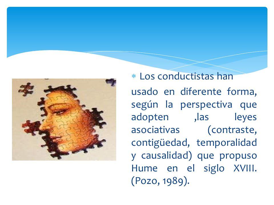 Los conductistas han usado en diferente forma, según la perspectiva que adopten,las leyes asociativas (contraste, contigüedad, temporalidad y causalid