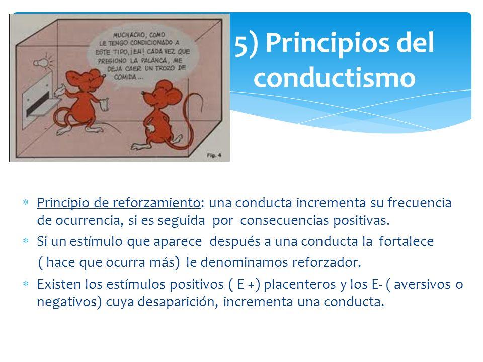 Principio de reforzamiento: una conducta incrementa su frecuencia de ocurrencia, si es seguida por consecuencias positivas. Si un estímulo que aparece