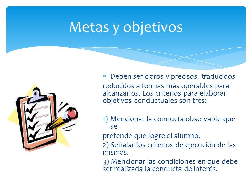 Deben ser claros y precisos, traducidos reducidos a formas más operables para alcanzarlos. Los criterios para elaborar objetivos conductuales son tres