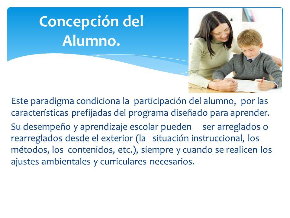 Este paradigma condiciona la participación del alumno, por las características prefijadas del programa diseñado para aprender. Su desempeño y aprendiz