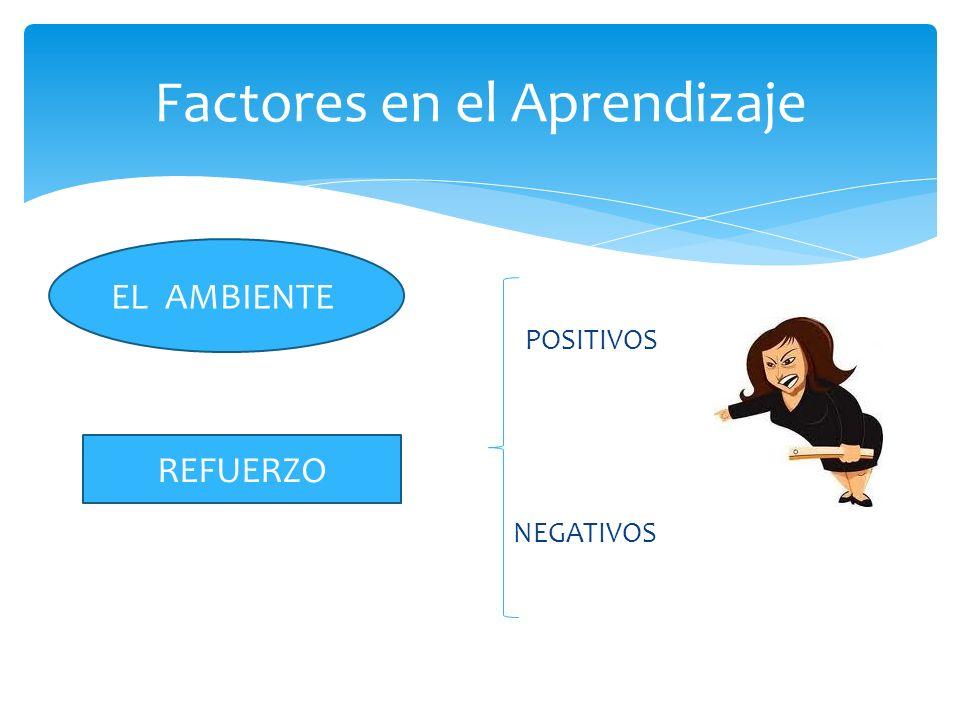 POSITIVOS NEGATIVOS Factores en el Aprendizaje EL AMBIENTE REFUERZO