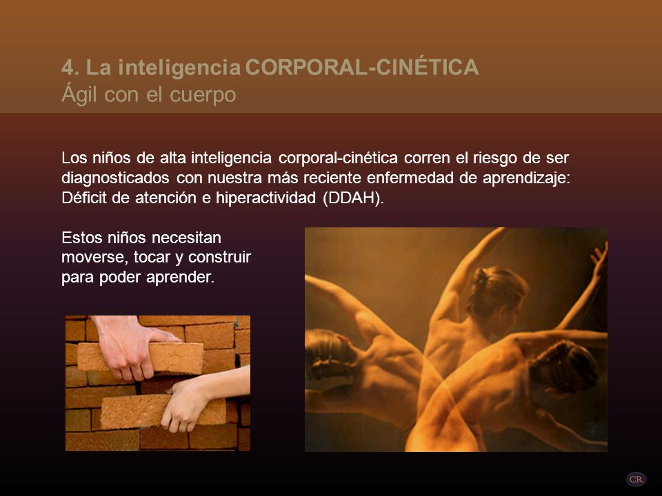 Se refiere a la inteligencia de todo el cuerpo (atleta, bailarín, mimo, actor), así como a la inteligencia de las manos (carpintería, artesanía, sastr