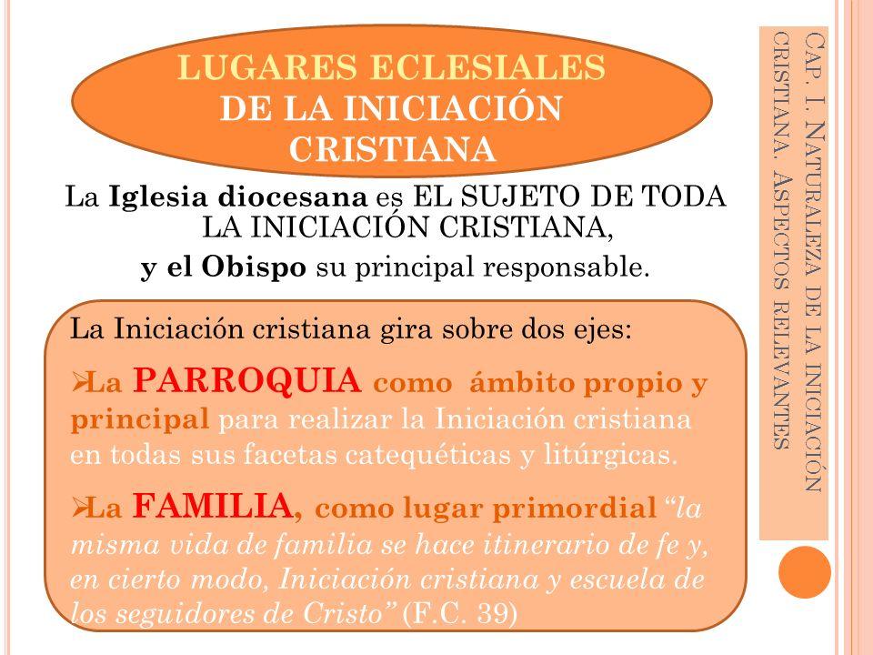 La Iniciación cristiana gira sobre dos ejes: La PARROQUIA como ámbito propio y principal para realizar la Iniciación cristiana en todas sus facetas ca