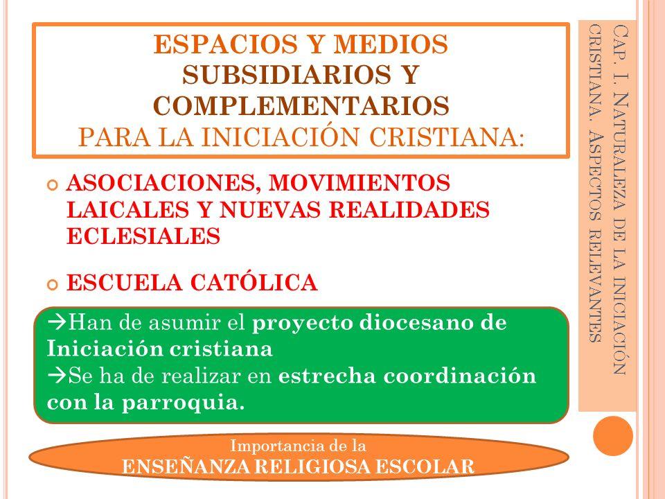 Han de asumir el proyecto diocesano de Iniciación cristiana Se ha de realizar en estrecha coordinación con la parroquia. ASOCIACIONES, MOVIMIENTOS LAI