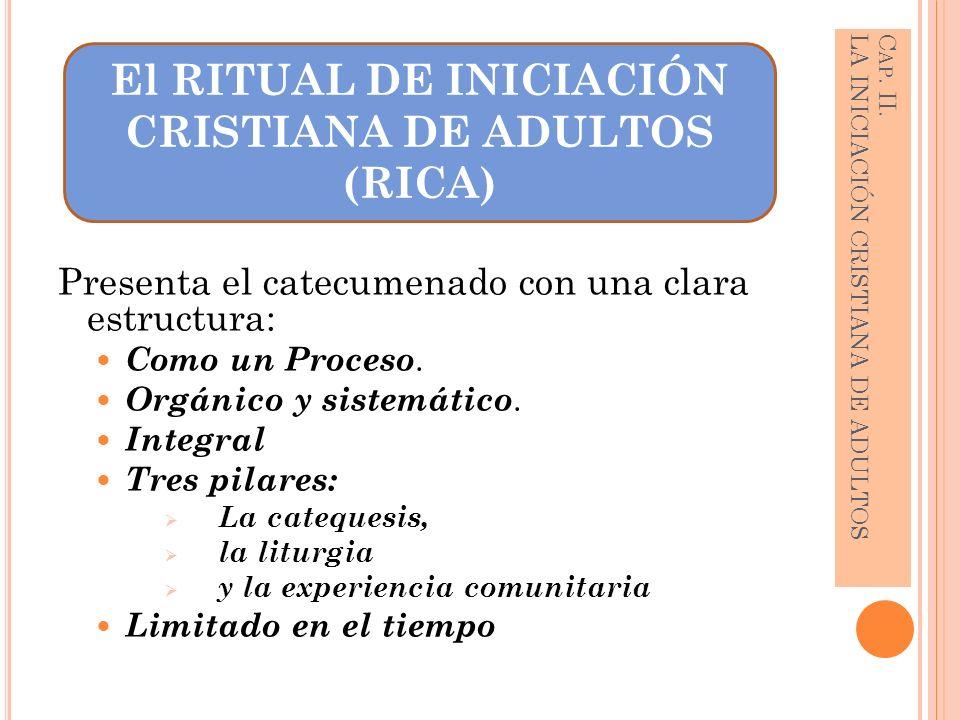 Presenta el catecumenado con una clara estructura: Como un Proceso. Orgánico y sistemático. Integral Tres pilares: La catequesis, la liturgia y la exp