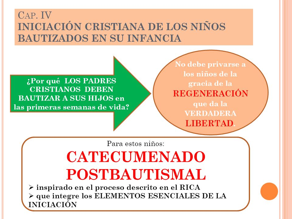 C AP. IV INICIACIÓN CRISTIANA DE LOS NIÑOS BAUTIZADOS EN SU INFANCIA ¿Por qué LOS PADRES CRISTIANOS DEBEN BAUTIZAR A SUS HIJOS en las primeras semanas