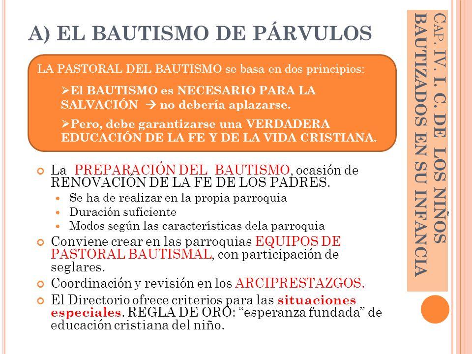 A) EL BAUTISMO DE PÁRVULOS La PREPARACIÓN DEL BAUTISMO, ocasión de RENOVACIÓN DE LA FE DE LOS PADRES. Se ha de realizar en la propia parroquia Duració