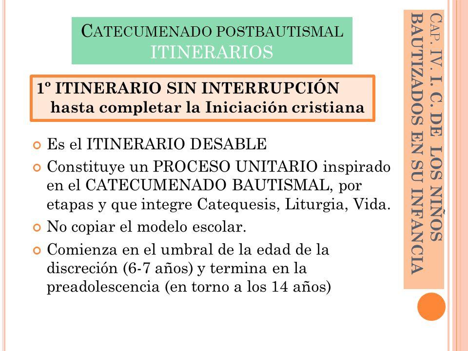 C ATECUMENADO POSTBAUTISMAL ITINERARIOS Es el ITINERARIO DESABLE Constituye un PROCESO UNITARIO inspirado en el CATECUMENADO BAUTISMAL, por etapas y q