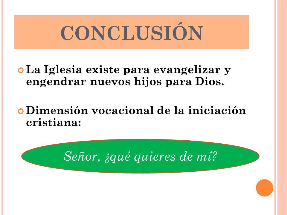 CONCLUSIÓN La Iglesia existe para evangelizar y engendrar nuevos hijos para Dios. Dimensión vocacional de la iniciación cristiana: Señor, ¿qué quieres