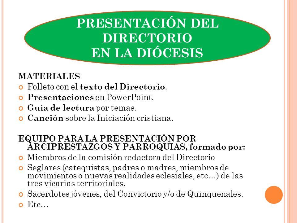 MATERIALES Folleto con el texto del Directorio. Presentaciones en PowerPoint. Guía de lectura por temas. Canción sobre la Iniciación cristiana. EQUIPO
