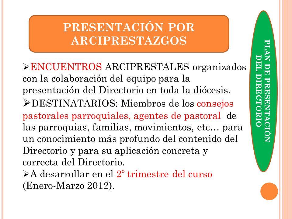 PRESENTACIÓN POR ARCIPRESTAZGOS ENCUENTROS ARCIPRESTALES organizados con la colaboración del equipo para la presentación del Directorio en toda la dió