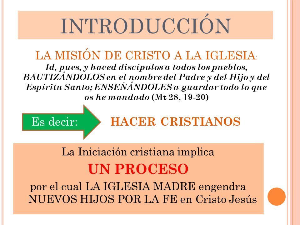 INTRODUCCIÓN La Iniciación cristiana implica UN PROCESO por el cual LA IGLESIA MADRE engendra NUEVOS HIJOS POR LA FE en Cristo Jesús LA MISIÓN DE CRIS