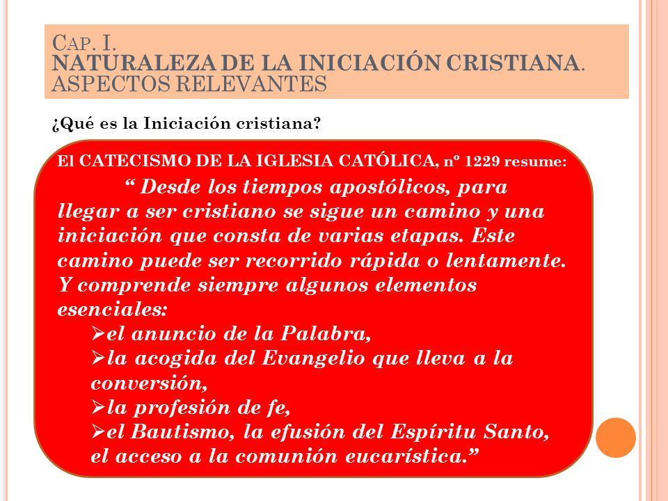 C AP. I. NATURALEZA DE LA INICIACIÓN CRISTIANA. ASPECTOS RELEVANTES El CATECISMO DE LA IGLESIA CATÓLICA, nº 1229 resume: Desde los tiempos apostólicos