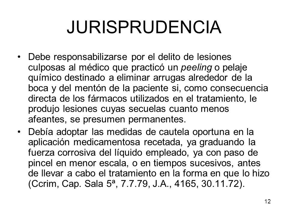 12 JURISPRUDENCIA Debe responsabilizarse por el delito de lesiones culposas al médico que practicó un peeling o pelaje químico destinado a eliminar ar