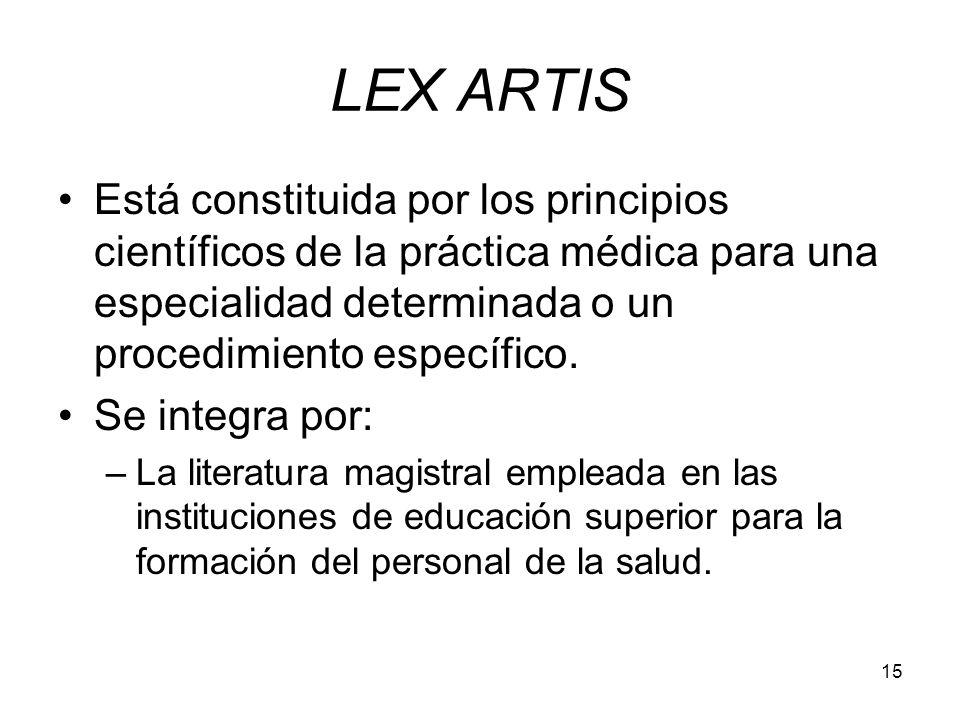 15 LEX ARTIS Está constituida por los principios científicos de la práctica médica para una especialidad determinada o un procedimiento específico. Se