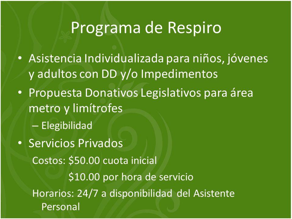 Programa de Respiro Asistencia Individualizada para niños, jóvenes y adultos con DD y/o Impedimentos Propuesta Donativos Legislativos para área metro
