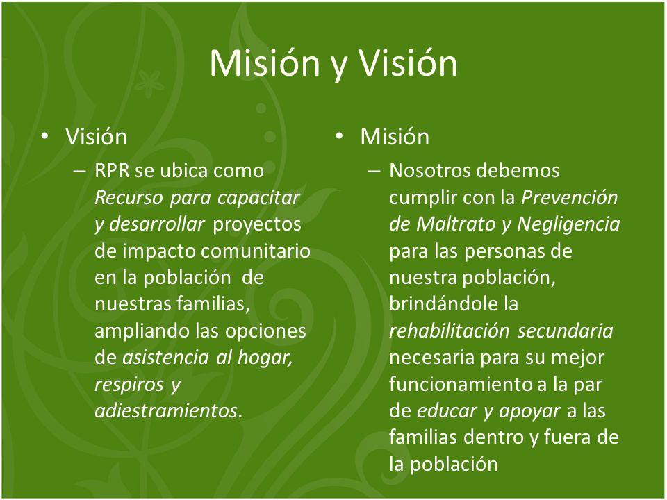 Misión y Visión Visión – RPR se ubica como Recurso para capacitar y desarrollar proyectos de impacto comunitario en la población de nuestras familias,