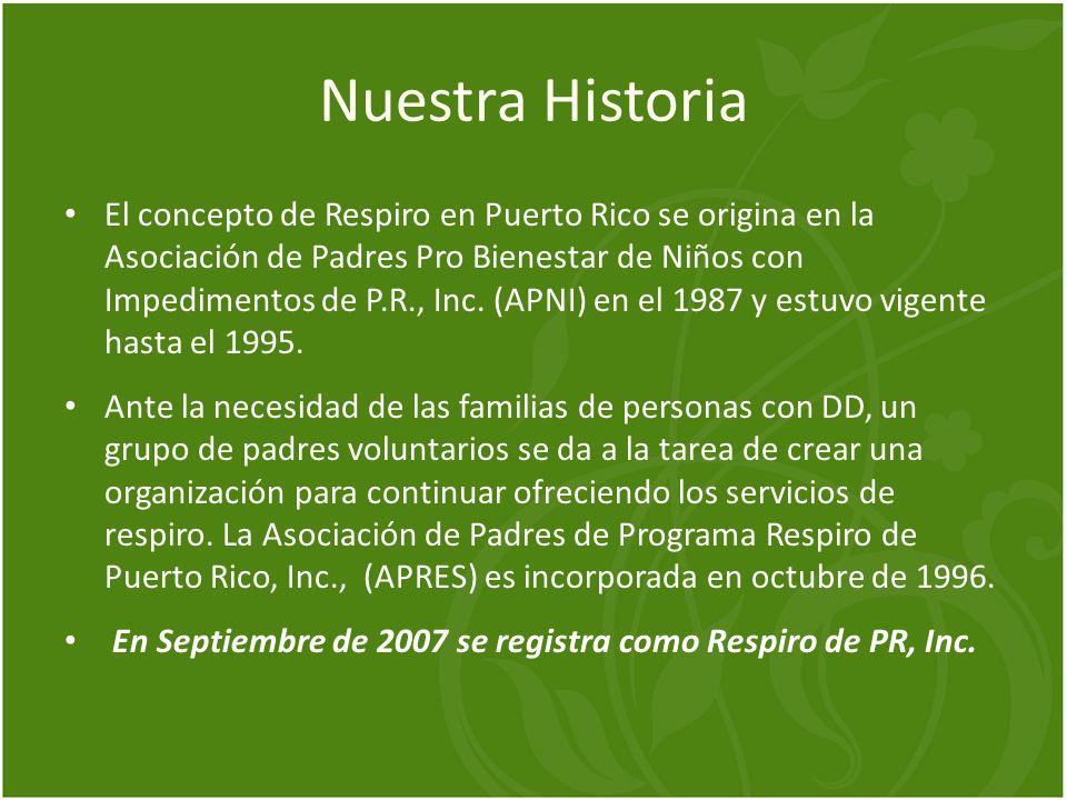 Nuestra Historia El concepto de Respiro en Puerto Rico se origina en la Asociación de Padres Pro Bienestar de Niños con Impedimentos de P.R., Inc. (AP