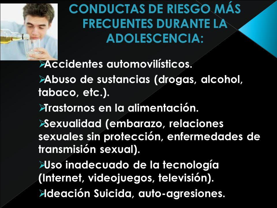 Accidentes automovilísticos. Abuso de sustancias (drogas, alcohol, tabaco, etc.). Trastornos en la alimentación. Sexualidad (embarazo, relaciones sexu