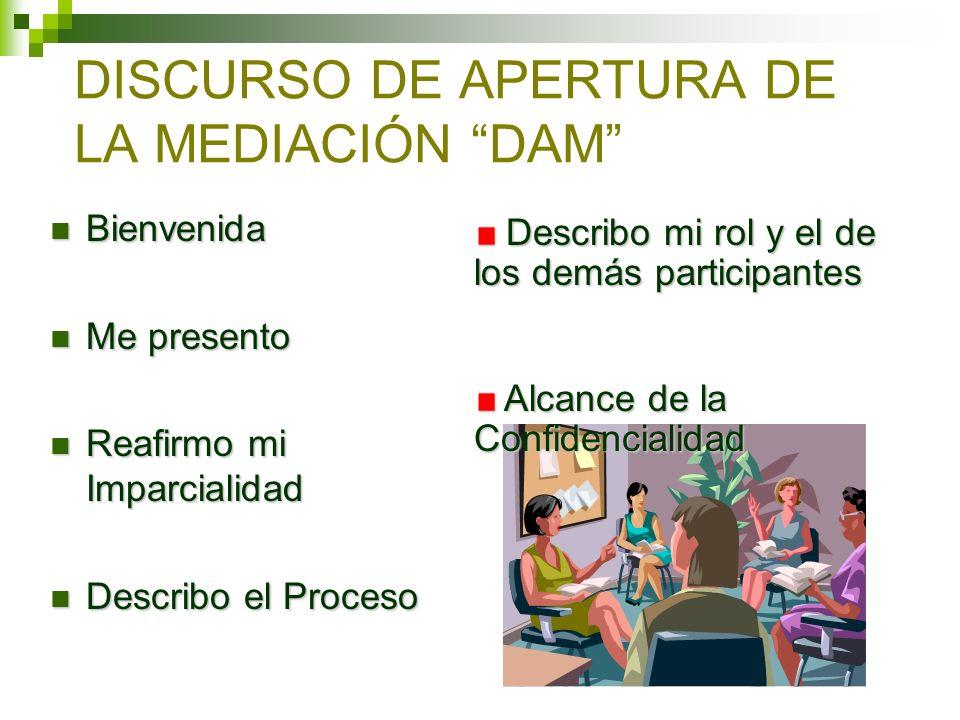 Sesiones individuales (caucus) Son parte de la rutina del Proceso de mediación y las partes deben saber sobre éstas desde el DAM.