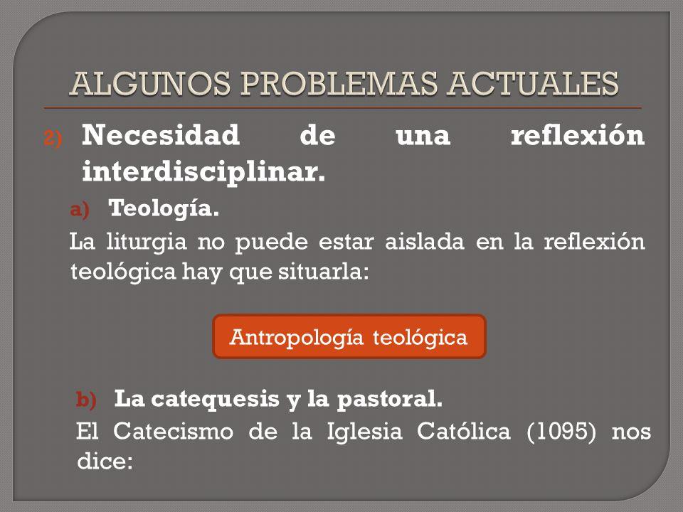 2) Necesidad de una reflexión interdisciplinar. a) Teología.