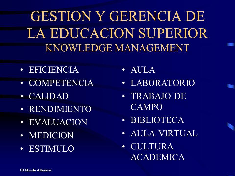 GESTION Y GERENCIA DE LA EDUCACION SUPERIOR KNOWLEDGE MANAGEMENT EFICIENCIA COMPETENCIA CALIDAD RENDIMIENTO EVALUACION MEDICION ESTIMULO ©Orlando Albo