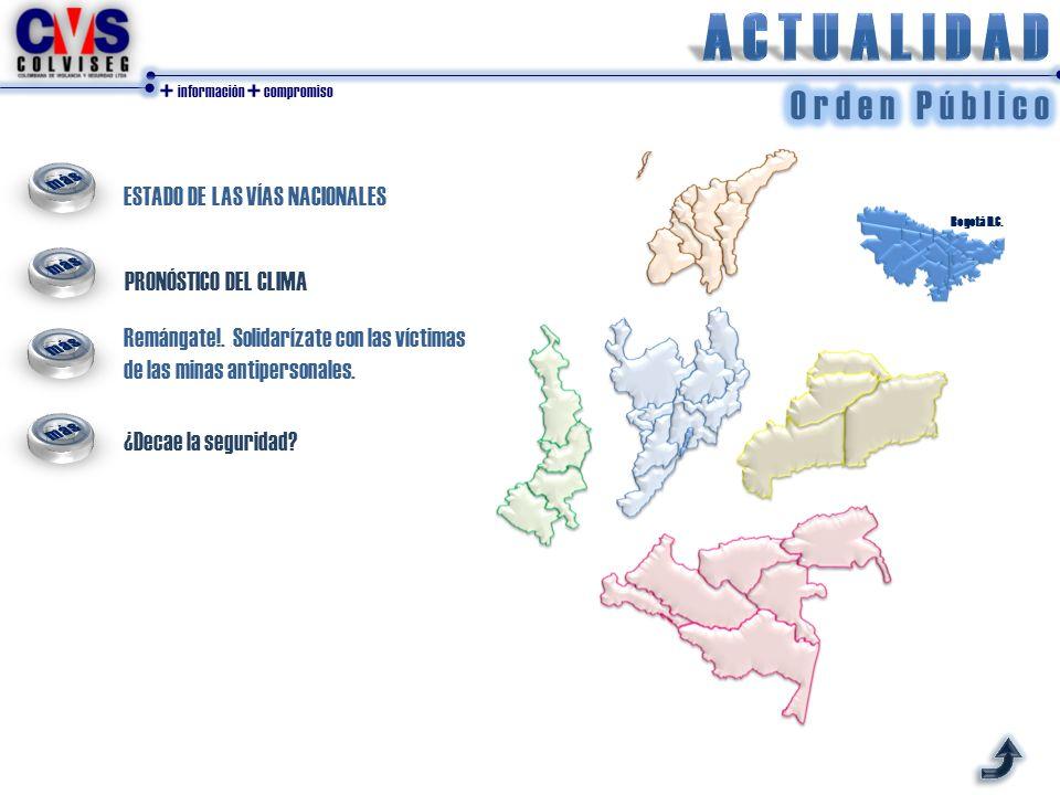 + información + compromiso ESTADO DE LAS VÍAS NACIONALES PRONÓSTICO DEL CLIMA Bogotá D.C. Remángate!. Solidarízate con las víctimas de las minas antip
