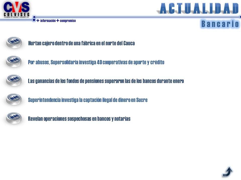 + información + compromiso Hurtan cajero dentro de una fábrica en el norte del Cauca Por abusos, Supersolidaria investiga 40 cooperativas de aporte y