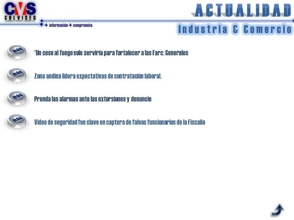 + información + compromiso Un cese al fuego solo serviría para fortalecer a las Farc: Generales Zona andina lidera expectativas de contratación laboral.