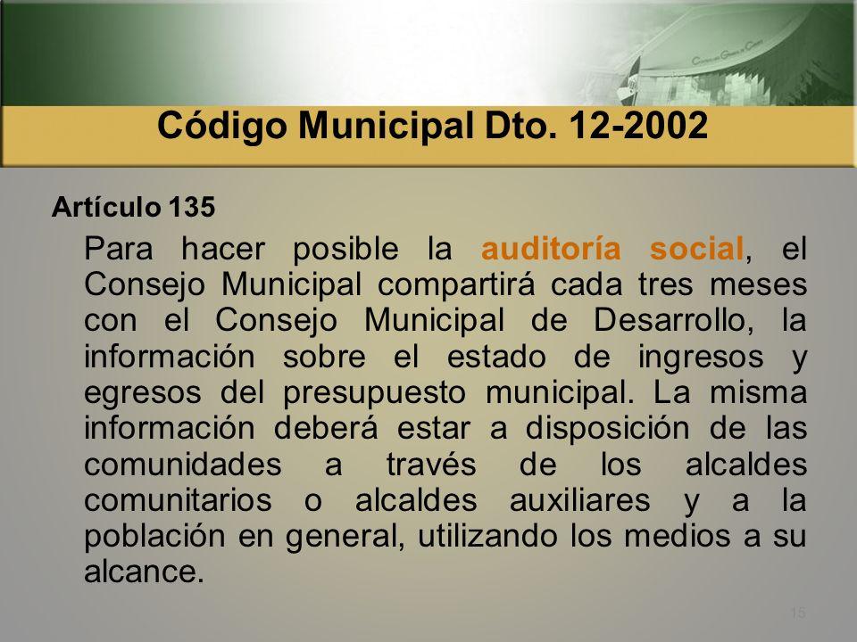 Código Municipal Dto. 12-2002 Artículo 129. Estructura del presupuesto. El presupuesto municipal tendrá obligatoriamente una estructura programática,