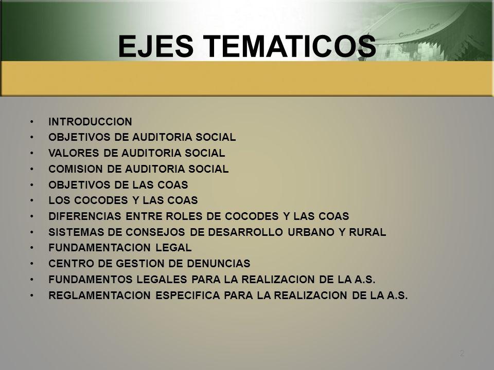 EJES TEMATICOS INTRODUCCION OBJETIVOS DE AUDITORIA SOCIAL VALORES DE AUDITORIA SOCIAL COMISION DE AUDITORIA SOCIAL OBJETIVOS DE LAS COAS LOS COCODES Y LAS COAS DIFERENCIAS ENTRE ROLES DE COCODES Y LAS COAS SISTEMAS DE CONSEJOS DE DESARROLLO URBANO Y RURAL FUNDAMENTACION LEGAL CENTRO DE GESTION DE DENUNCIAS FUNDAMENTOS LEGALES PARA LA REALIZACION DE LA A.S.