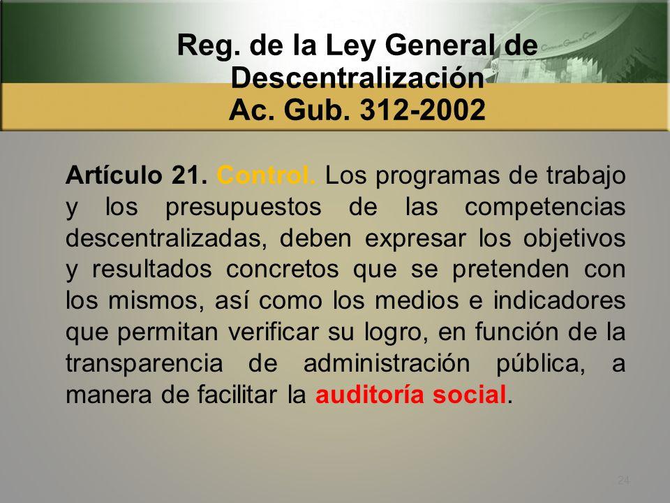 Reg. de la Ley General de Descentralización Ac. Gub. 312-2002 Artículo 20. Participación ciudadana, desarrollo local y auditoría social. Sin perjuicio
