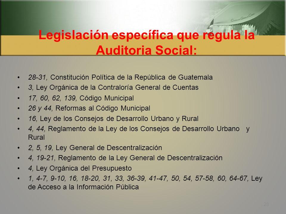 Fundamentos legales Para la realización de procesos de Auditoría Social Artículos: 1, 2, 30, 35, 140-141, 155, Constitución Política de la República d