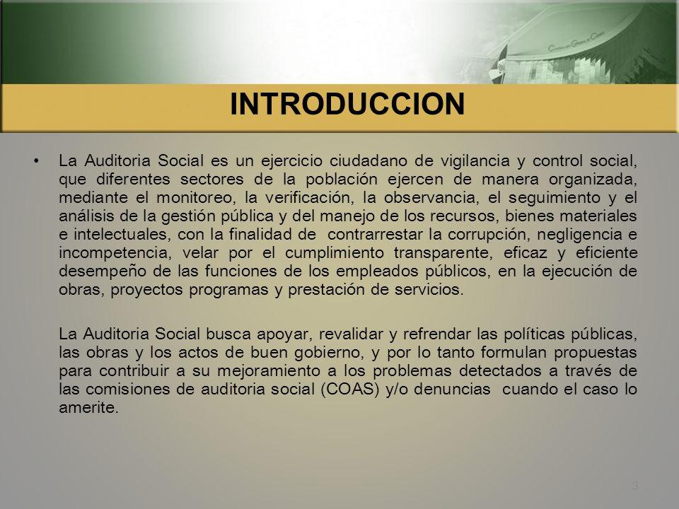 EJES TEMATICOS INTRODUCCION OBJETIVOS DE AUDITORIA SOCIAL VALORES DE AUDITORIA SOCIAL COMISION DE AUDITORIA SOCIAL OBJETIVOS DE LAS COAS LOS COCODES Y