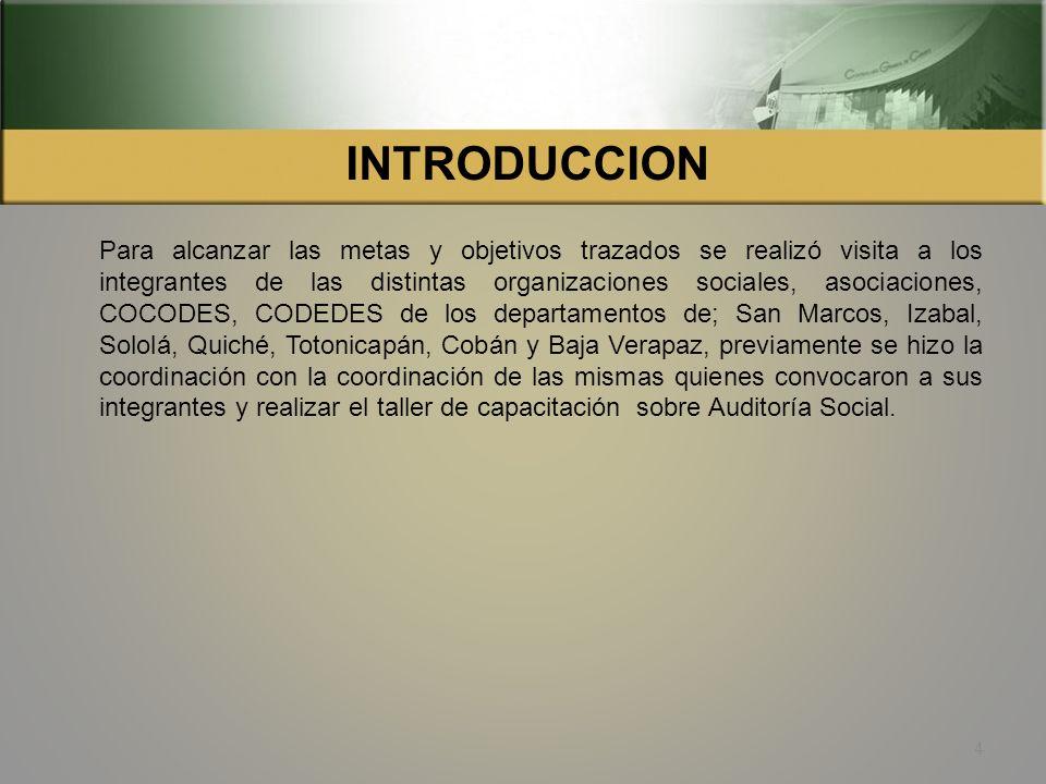 INTRODUCCION La Auditoria Social es un ejercicio ciudadano de vigilancia y control social, que diferentes sectores de la población ejercen de manera o
