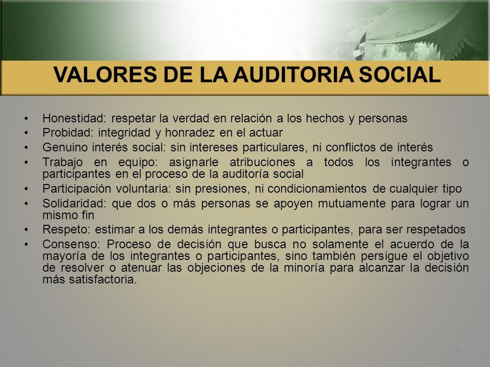 OBJETIVOS DE LA AUDITORIA SOCIAL Contribuir a garantizar la equidad, eficiencia, eficacia y transparencia en la ejecución de obras y prestación de ser
