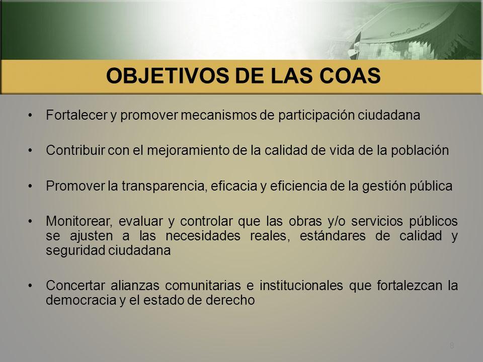 COMISION DE AUDITORIA SOCIAL. COAS Las Comisiones de Auditoría Social (COAS) son organizaciones de la sociedad civil, que realizan actividades de moni