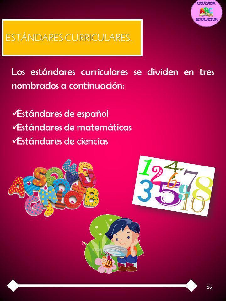 16 ESTÁNDARES CURRICULARES. Los estándares curriculares se dividen en tres nombrados a continuación: Estándares de español Estándares de matemáticas E