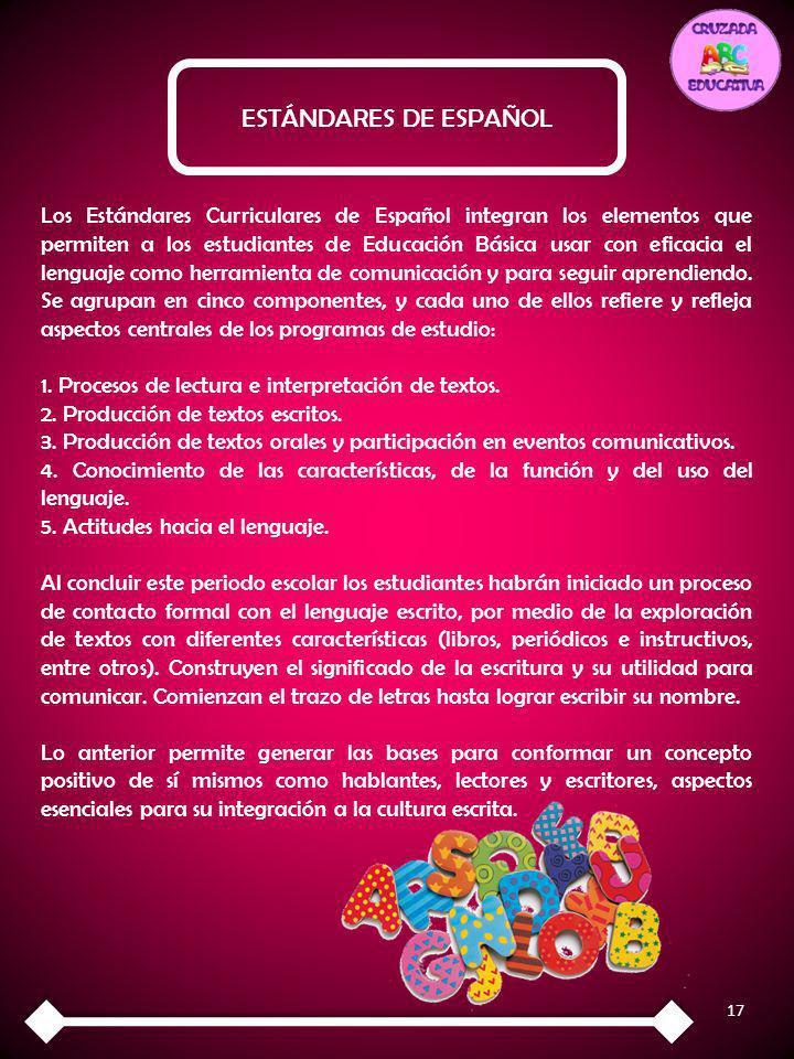 17 ESTÁNDARES DE ESPAÑOL Los Estándares Curriculares de Español integran los elementos que permiten a los estudiantes de Educación Básica usar con efi