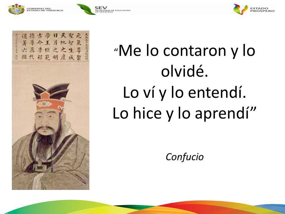 Me lo contaron y lo olvidé. Lo ví y lo entendí. Lo hice y lo aprendí Confucio