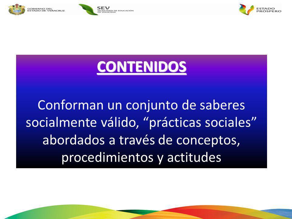 CONTENIDOS Conforman un conjunto de saberes socialmente válido, prácticas sociales abordados a través de conceptos, procedimientos y actitudes