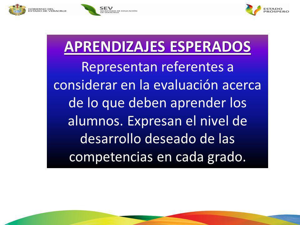 APRENDIZAJES ESPERADOS Representan referentes a considerar en la evaluación acerca de lo que deben aprender los alumnos. Expresan el nivel de desarrol
