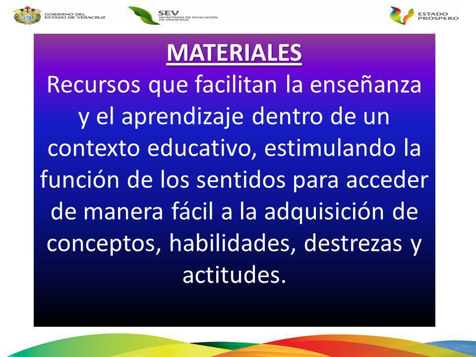 MATERIALES Recursos que facilitan la enseñanza y el aprendizaje dentro de un contexto educativo, estimulando la función de los sentidos para acceder d