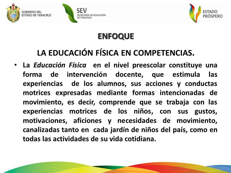 LA EDUCACIÓN FÍSICA EN COMPETENCIAS. La Educación Física en el nivel preescolar constituye una forma de intervención docente, que estimula las experie