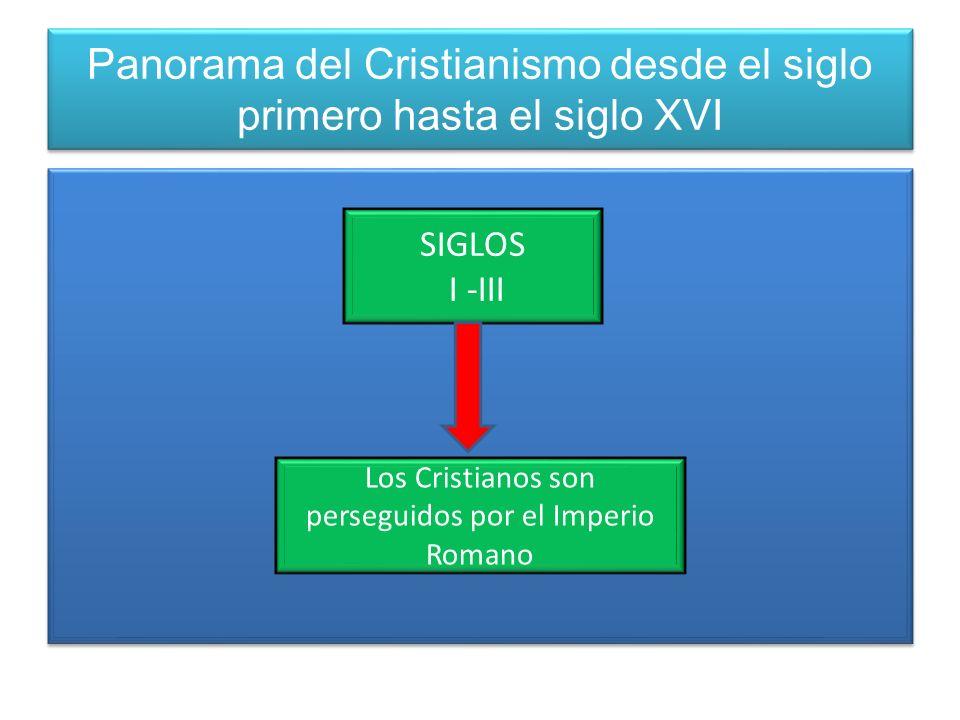 Panorama del Cristianismo desde el siglo primero hasta el siglo XVI SIGLOS I -III Los Cristianos son perseguidos por el Imperio Romano