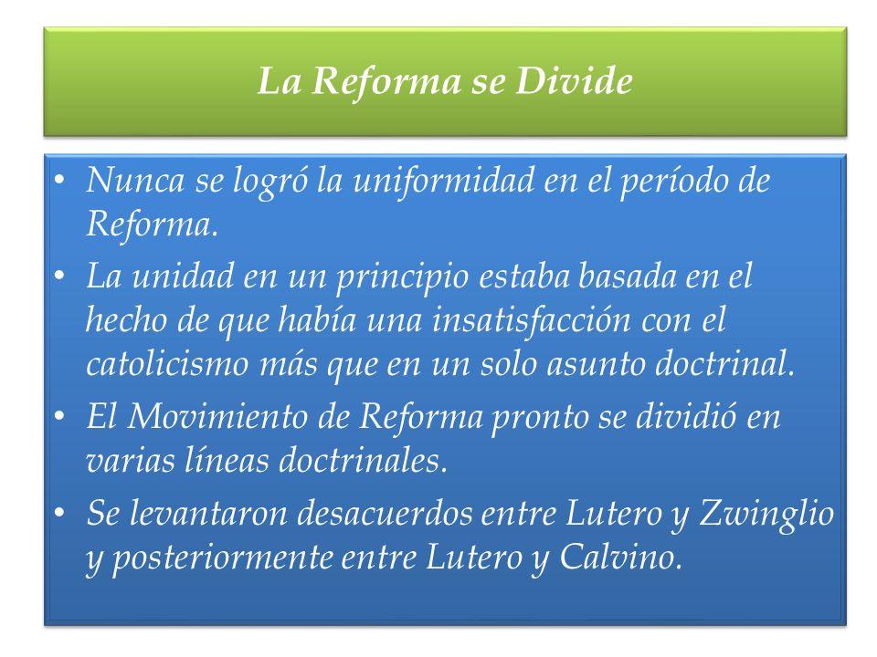 Nunca se logró la uniformidad en el período de Reforma. La unidad en un principio estaba basada en el hecho de que había una insatisfacción con el cat